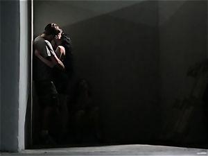 Asa Akira masturbates as she observes a crazy duo