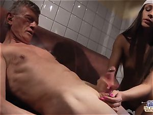 nubile Gives rapid hand job to grandpa and lets him shag