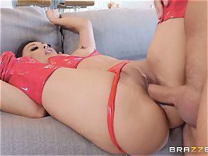 luxurious Kaylani Lei in red leathers