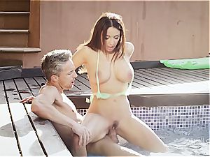 big-titted wonder stunner Anissa rails a bone by the pool