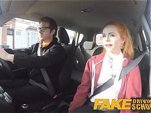 fake Driving college lovely sandy-haired Ella Hughes fucks