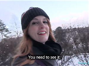 Public Agent inked ginger Irina Vega earns cash