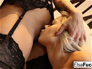 Elsa receives a tough lesson from her huge-chested lecturer Holly