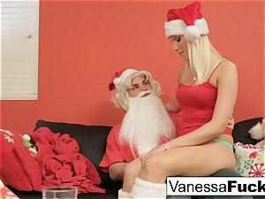 Vanessa letting Santa plumb her taut moist cootchie