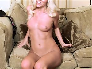 Aaliyah enjoy frolicking her tight twat on couch