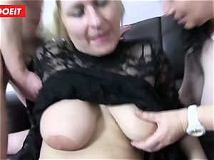 German four way intercourse with wild plumper grannies