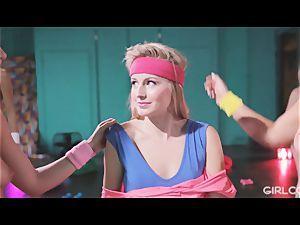 GIRLCORE Aerobics Class Leads to girly-girl spraying fucky-fucky