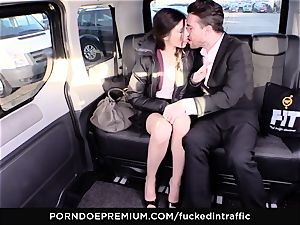 penetrated IN TRAFFIC - Russian hottie in rough car pound