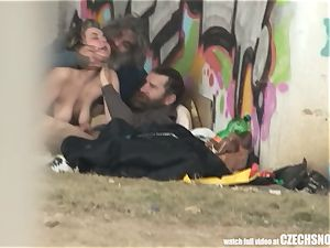 Homeless threeway Having hookup on Public