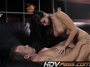 dark haired honey India Summer nails with passion in livingroom
