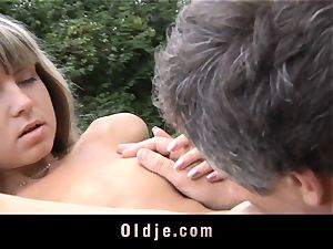 elder anal injection for little cock-squeezing booty