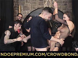 CROWD restrain bondage - extraordinary bondage & discipline plumb wheel with Tina Kay