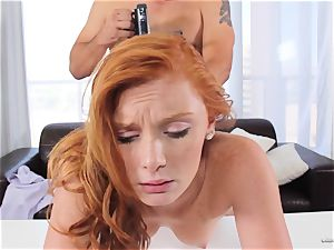 redhead Alex Tanner tongued out at her audition