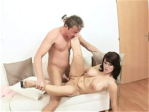 sugary Kristi enjoy plunges a rock-hard trouser snake down her mouth