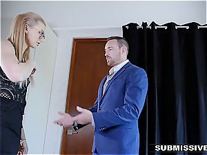 steamy blondie plays a bad woman at the office and gets slapped