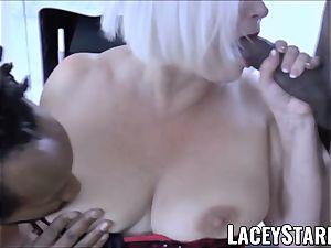 LACEYSTARR - big black cock double team works on kinky grandmother