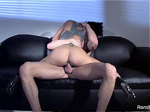 gorgeous Romi Rain teases and then gets ravaged rigid