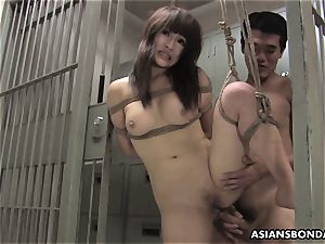 asian ultra-cutie gets romped with strength behind the slats