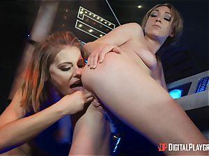 labia loving lesbians Adriana Chechik and Lily Labeau sploog on board