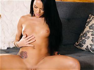 Megan Rain gets bare to make her juicy puss jizz