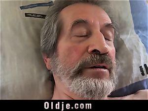 teenage nurse female Dee poke approach for sick aged patient