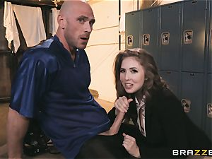 big-chested news reporter Lena Paul fucked in the locker room