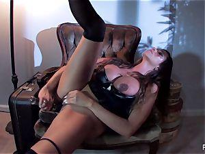 Ariella Ferrera pummels herself with a meaty glass fucktoy