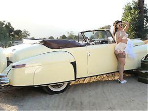 Lana Rhoades antique car cooter have fun