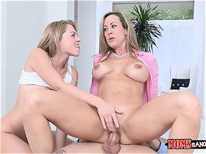Stepmom Brandi enjoy and her step daughter have a three way