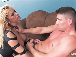 platinum-blonde mummy Shyla gets a hard-core bang and a facial