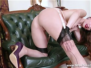 stunner disrobes to nylons stilettos to plaything her cootchie