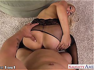 Housewife Bridgette B. gets ample baps plumbed in pov