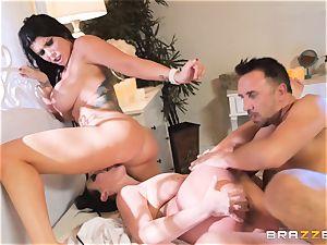 cum longing vampiress Angela white sharing cock with Romi Rain