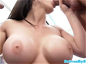 Rich stunner Aletta Ocean uncovers her udders to 2 Paparazzi